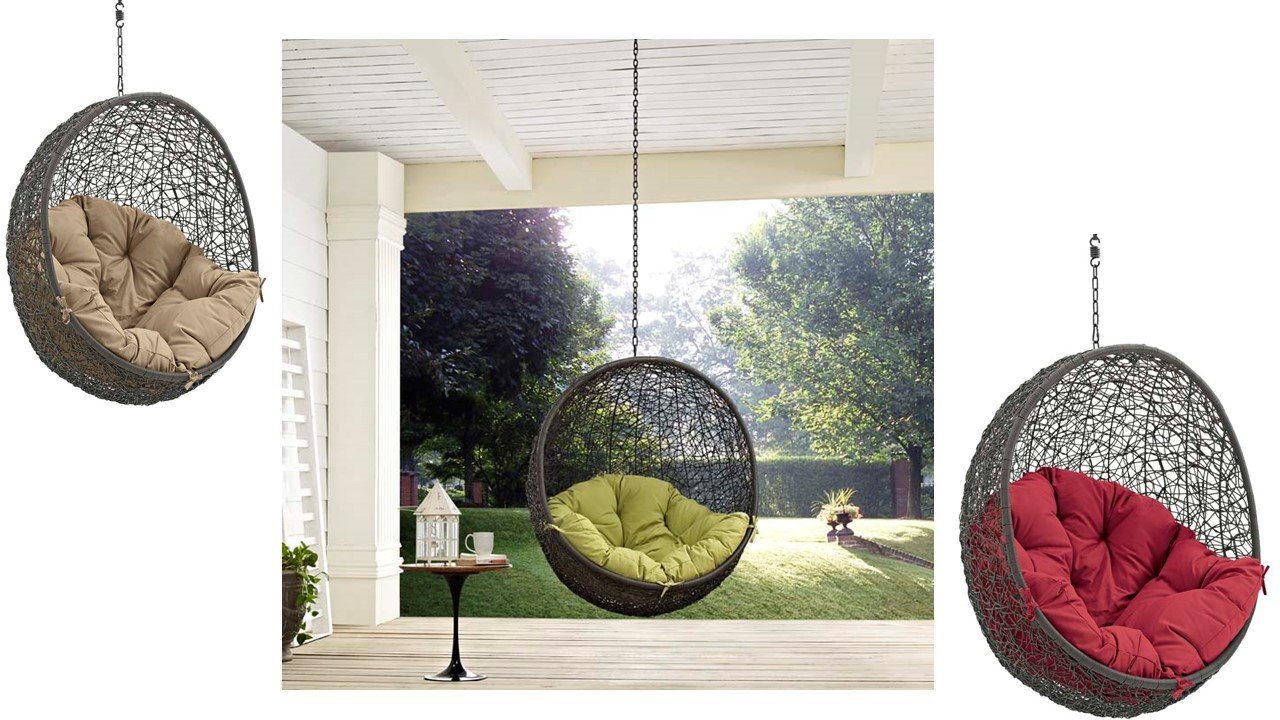 Hide outdoor patio swing chair without stand in gray