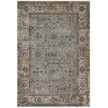 HISA DISTRESSED VINTAGE FLORAL LATTICE 5X8 AREA RUG IN SILVER BLUE, BEIGE AND BROWN
