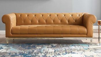 Idyll Tufted Button Upholstered Leather Chesterfield Sofa 3441