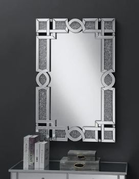 Interlocking Wall Mirror With Iridescent Panels And Beads Silver 961444