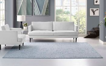Javiera Contemporary Moroccan 8x10 Area 1018A Rug in Ivory and Light Blue