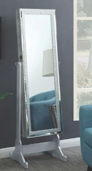 Jewelry Cheval Mirror With Crystal Trim Silver 902779