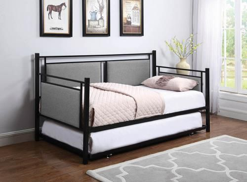Metal Daybed Trundle Upholstered Daybeds Guest Bedroom