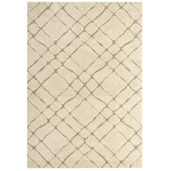 JUBILANT ABSTRACT GEOMETRIC 8X10 SHAG AREA RUG IN CREAME AND BEIGE