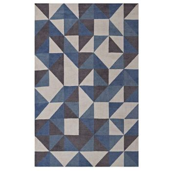 KAHULA GEOMETRIC TRIANGLE 1014B MOSAIC 5X8 AREA RUG IN BLUE, WHITE AND GRAY