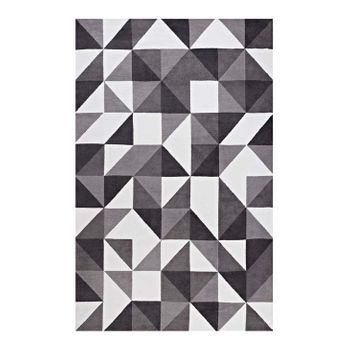 KAHULA GEOMETRIC TRIANGLE MOSAIC 8X10 AREA RUG IN BLACK, GRAY AND WHITE