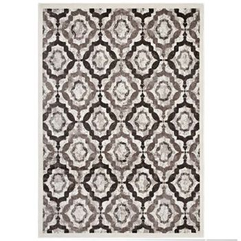 KALINDA RUSTIC VINTAGE MOROCCAN TRELLIS 5X8 AREA RUG IN BROWN, BEIGE AND IVORY