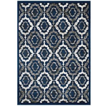 KALINDA RUSTIC VINTAGE MOROCCAN TRELLIS 8X10 AREA RUG IN IVORY, MOROCCAN BLUE AND BROWN