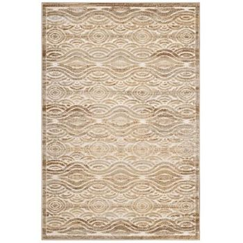 KENNOCHA RUSTIC VINTAGE ABSTRACT WAVES 5X8 AREA RUG IN TAN AND CREAM