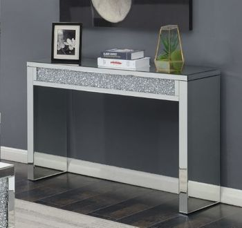 Layton Rectangular Sofa Table Silver And Clear Mirror 722499