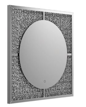 LED Wall Mirror Silver And Black 961554