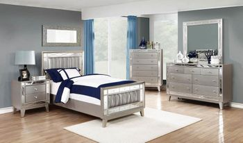 Leighton Contemporary Metallic Twin Bed # 204921T