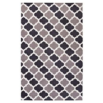 LIDA MOROCCAN TRELLIS 5X8 AREA 1001B RUG IN CHARCOAL AND BLACK
