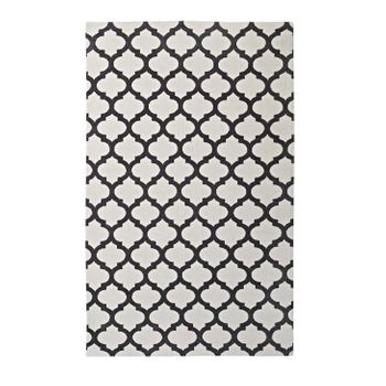 LIDA MOROCCAN TRELLIS 5X8 AREA 1001C RUG IN IVORY AND CHARCOAL