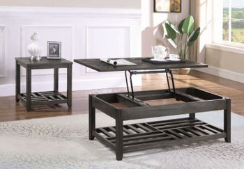Lift Top Coffee Table With Storage Cavities Grey