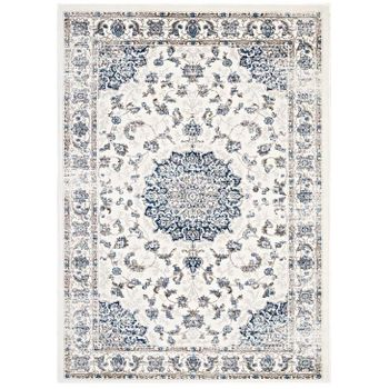LILJA DISTRESSED VINTAGE PERSIAN MEDALLION 8X10 AREA RUG IN IVORY AND MOROCCAN BLUE