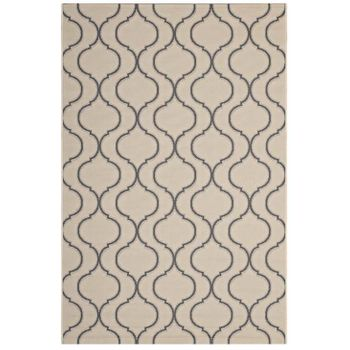 LINZA WAVE ABSTRACT TRELLIS 5X8 INDOOR AND OUTDOOR 1136A AREA RUG IN BEIGE AND GRAY