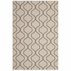 LINZA WAVE ABSTRACT TRELLIS INDOOR AND OUTDOOR AREA RUG IN BEIGE AND GRAY