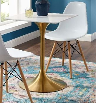 "Lippa 24"" Square Wood Top Dining Table in Gold White"