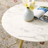 "Lippa 28"" Round Artificial Marble Coffee Table with Tripod Base in Gold White"