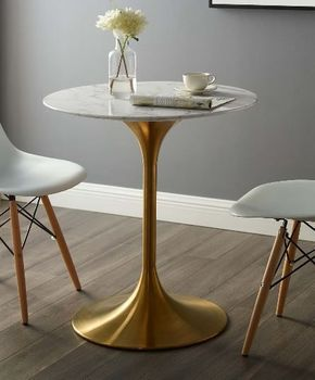 "Lippa 28"" Round Artificial Marble Dining Table in Gold White"