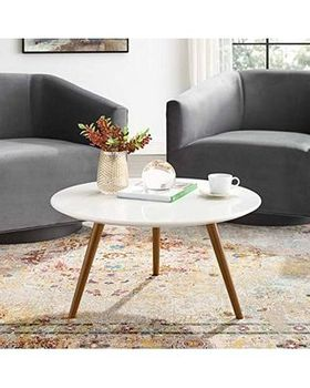 "Lippa 28"" Round Wood Top Coffee Table with Tripod Base in Walnut White"