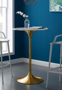 "Lippa 28"" Wood Top Bar Table in Gold # 3262"