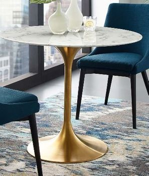 """Lippa 36"""" Round Artificial Marble Dining Table in Gold White"""