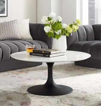 """Lippa 36"""" Round Wood Coffee Table in Black White 3535"""