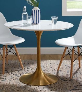 """Lippa 36"""" Round Wood Dining Table in Gold White"""