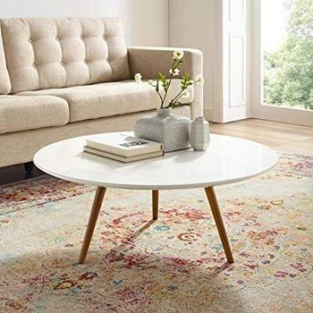 """Lippa 36"""" Round Wood Top Coffee Table with Tripod Base 3659 in Walnut White"""