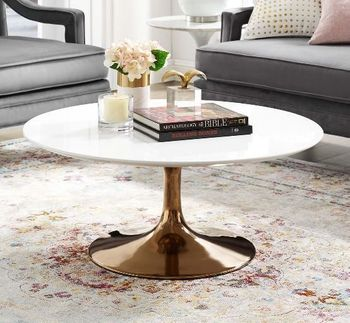 "Lippa 36"" Wood Coffee Table in Rose White"