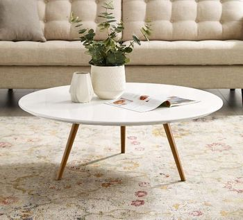 """Lippa 40"""" Round Wood Top Coffee Table with Tripod Base in Walnut White"""