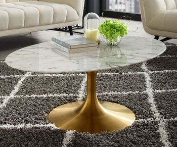 "Lippa 42"" Oval-Shaped Artifical 3249 Marble Coffee Table in Gold White"