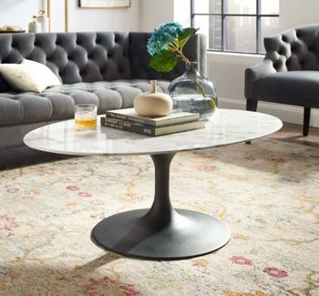 """Lippa 42"""" Oval-Shaped Artificial Marble Coffee Table # 3534"""