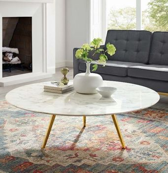 """Lippa 47"""" Round Artificial Marble Coffee Table with Tripod Base # 3673"""