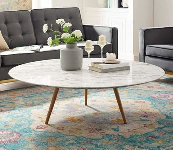 "Lippa 47"" Round Artificial Marble Coffee Table with Tripod Base # 3669"