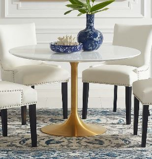 "Lippa 47"" Round Wood Dining Table in Gold White"