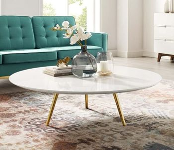 """Lippa 47"""" Round Wood Top Coffee Table with Tripod Base in Gold White"""