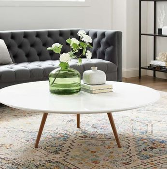 """Lippa 47"""" Round Wood Top Coffee Table with Tripod Base in Walnut White"""