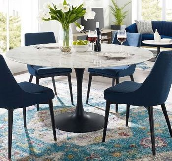 """Lippa 54"""" Round Artificial Marble Dining Table in Black White"""