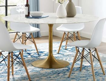 """Lippa 60"""" Round Artificial Marble Dining Table in Gold White"""