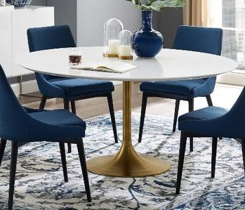 "Lippa 60"" Round Wood Dining Table in Gold White"