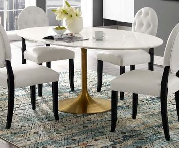 """Lippa 78"""" Oval Wood Dining Table in Gold White 3255"""