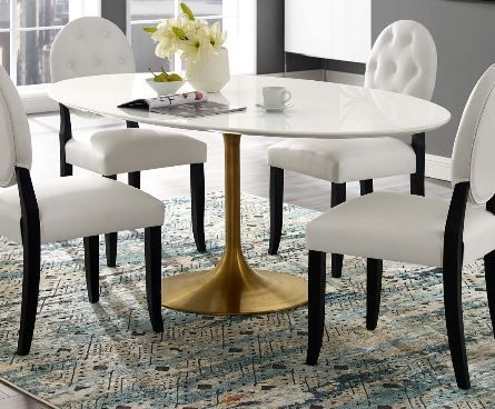 Dining Tables Oval Gold Dining Table Modway Furniture 3255 Dc Dining Room Stores