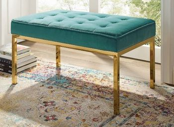 Loft Gold Stainless Steel Leg Medium Performance Velvet Bench in Gold