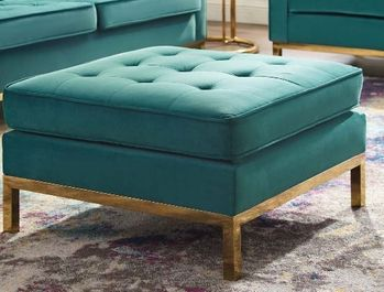 Loft Gold Stainless Steel Leg Performance Velvet Ottoman in Gold # 3396