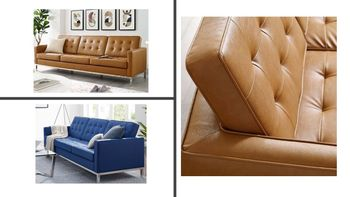 Loft Tufted Upholstered Faux Leather Sofa 3385