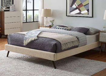 Loryn Queen Fabric Bed Frame with Round Splayed Legs