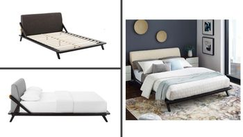 Luella Queen Upholstered Fabric Platform Bed in Cappuccino